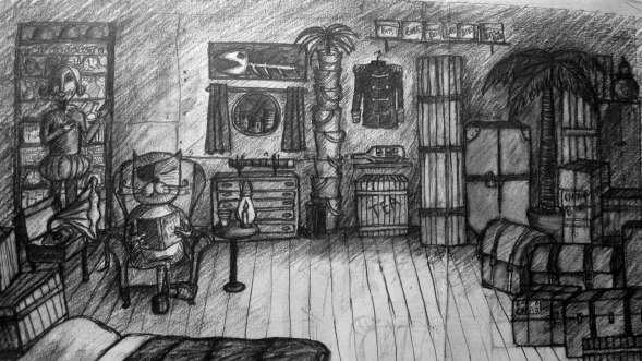 Captain Cat's Cabin - preparatorydrawing for children's book character