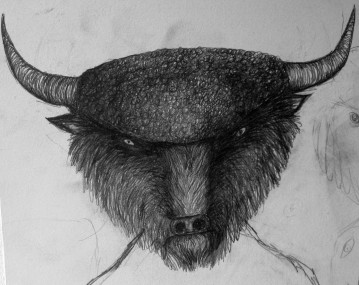 The Minotaur - graphite sketch