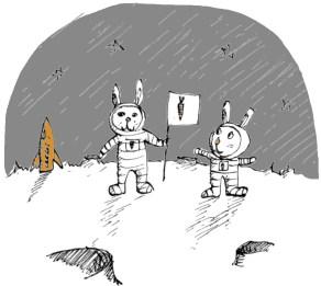 Rabbits on the moon! Workshop flyer illustration