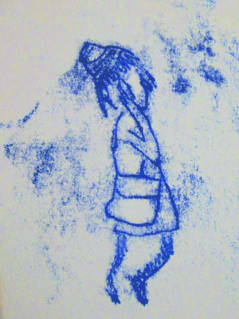 stokes croft monoprint -girl on mobile