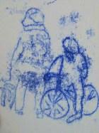 stokes croft monoprint-cyclist, man&dog