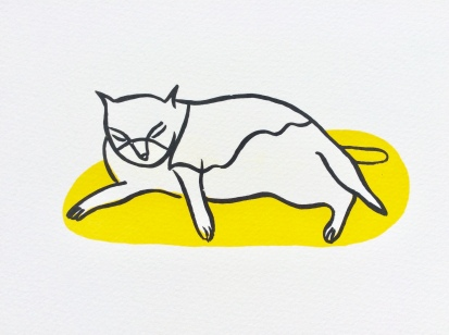 Cat Bath - Yellow screenprint