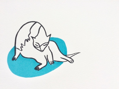 Cat Bath - Blue screenprint