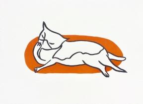 Cat Bath - orange screenprint